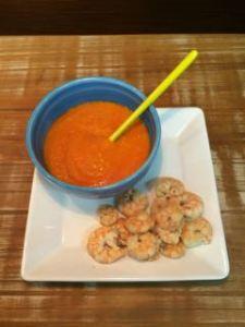 Sopa de Vegetais e camarões ao molho de limão