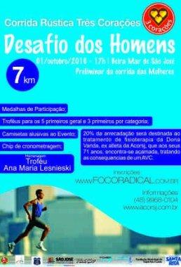 A Corrida Três Corações Desafio Dos Homens, tem como objetivo: O lazer, a qualidade de vida, saúde e estimular a participação dos homens corredores da região do São José e do Estado de Santa Catarina.